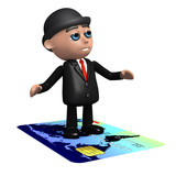 3d Banker rides a credit card poster
