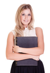 Blond businesswoman with black folder isolated on white