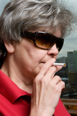 woman with cigarette macro