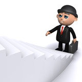 3d Banker climbs the staircase poster