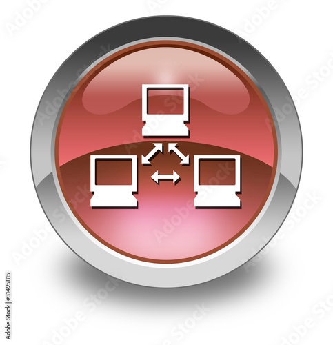 "Red Glossy Pictogram ""Network"""