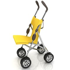 empty baby stroller over white