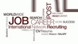Job carrer international network recruiting tag cloud animation