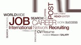 Job carrer international network recruiting tag cloud animation poster