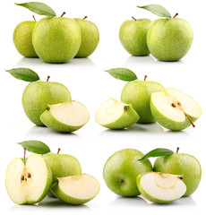Set of green apple fruits with leaf isolated