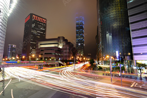 Taipei commercial district at night