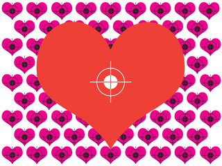 Red and pink hearts with targets