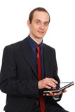 The young enterprising man with the laptop isolated on a white b poster