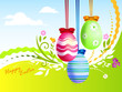 uova di pasqua decorate su paesaggio