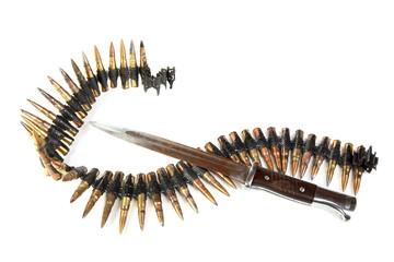 Machine-gun tape and bayonet-knife