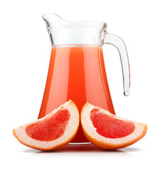 Full jug of grapefruit juice and fruits isolated