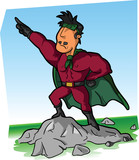 A Latin super hero on the rock; vector illustration
