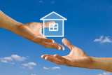 Seller hand send house to buyer hand, Concept poster