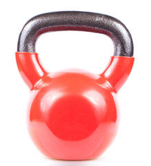 Red kettlebell isolated on white background