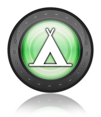 "Green Industrial Style Icon ""Camping Symbol"""