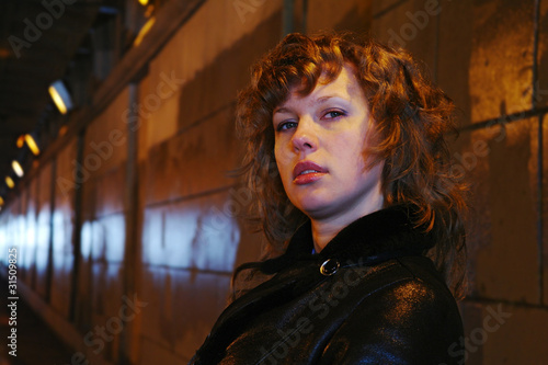 Portrait of the girl in the shined tunnel, Moscow
