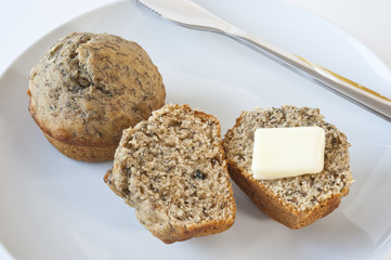 Banana Muffins with Butter