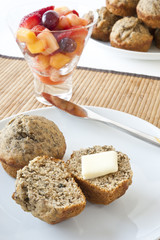 Banana Muffins and Fruit Salad Breakfast