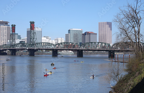 Kayaks & Portland OR., skyline.