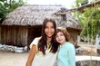 Indian mayan latin girl with her caucasian friend