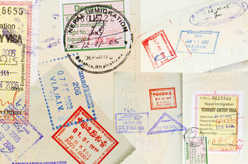 Passport Stamps Background