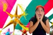 Beautiful Latin teen hispanic girl cap surprise gesture