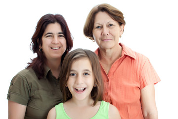 Three generations of latin women isolated on white