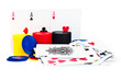 Poker playing cards and chips on a white background