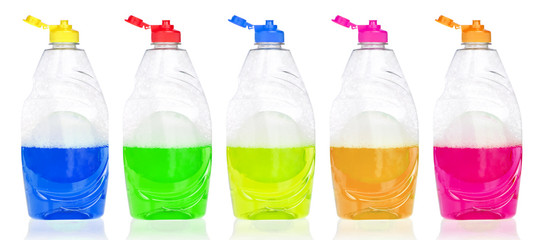 Detergent bottles on a white background