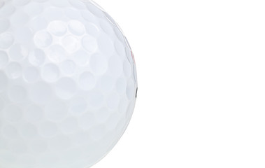 Macro shot of a golf ball isolated on a white background