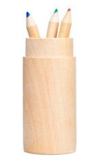 Wooden color pencils holder isolated on a white background