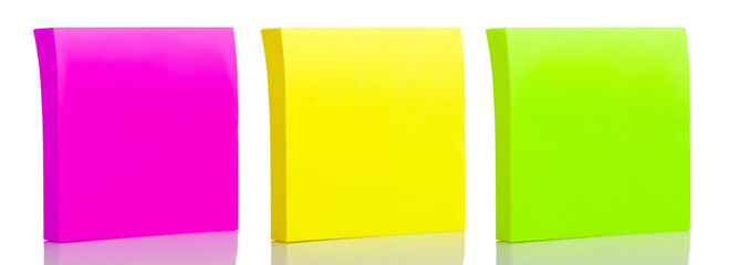 Set of three sticker post-it notes on a white background