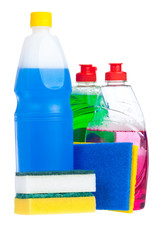 Household cleaning products  isolated on white