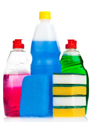 Household cleaning products  on a white background