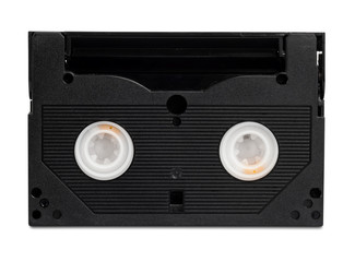 Black video casette isolated on white with clipping path