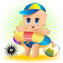 Bambino Neonato al Mare-Baby at the Beach-Vector