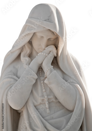 Leinwandbild Motiv Statue of a beautiful woman with a sorrow expression isolated on