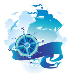 Adventures illustration - compass rose, banner & sailing ship