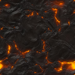 Seamless magma or lava texture with melting rocks and fire