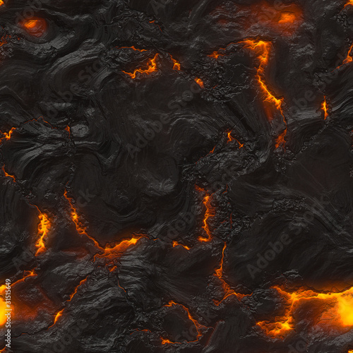 Leinwandbild Motiv Seamless magma or lava texture with melting rocks and fire
