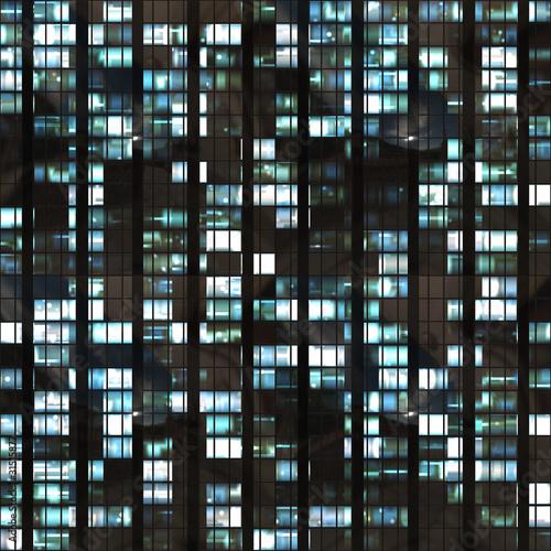 Aluminium Kunstmatig Seamless illustration resembling illuminated windows in a tall b