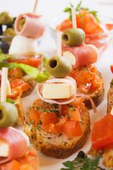 Bruschetta bread with italian food ingredients