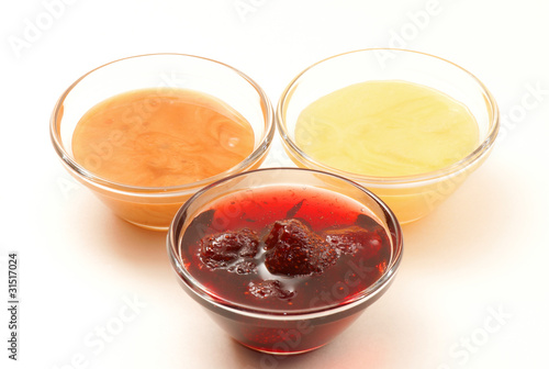 Strawberry jam and two kinds of honey