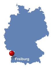 Freiburg auf der Deutschlandkarte