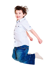 Excited child jumping