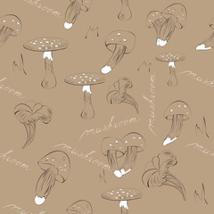 Seamless background with mushroom