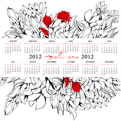 Template for calendar 2012 with flowers