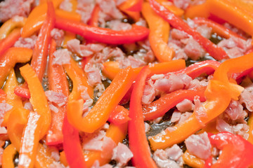 Bell peppers with prosciutto.