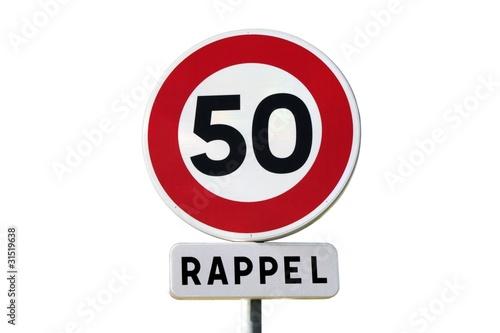panneau de rappel de limitation de vitesse 50 km h photo libre de droits sur la banque d. Black Bedroom Furniture Sets. Home Design Ideas
