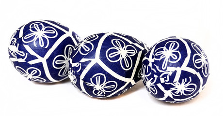 three decorative easter eggs isolated on white